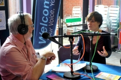 Nick le Mesurier from Stratford Words interviewing Rebecca Hollsworth from Proon Productions who run the Playhouse