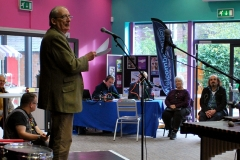 Performance poet Robin Bailey gives a reading