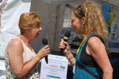 Linzi talks to Catherine a volunteer for the RNLI